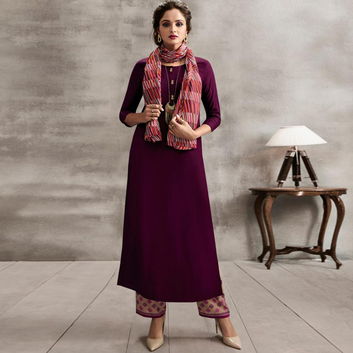 Flattering Purple Colored Casual Rayon Palazzo Suit