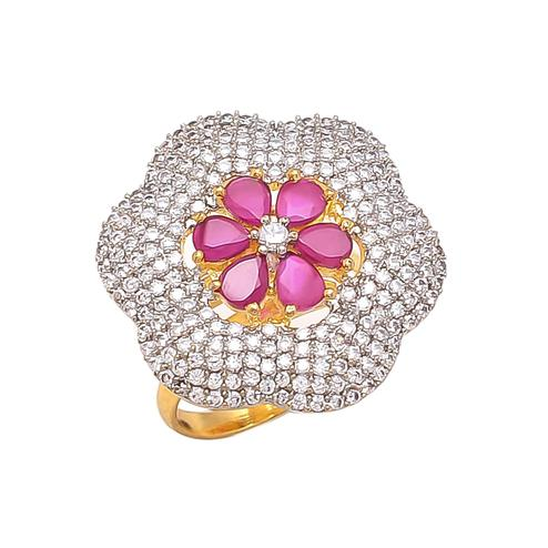 Ethnic Designer Red Stone American Diamond Adjustable Cocktail Ring