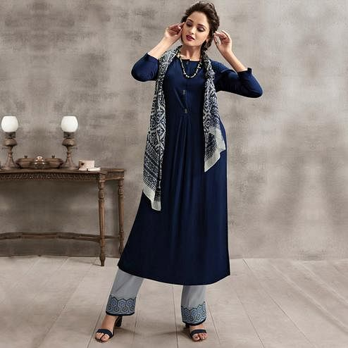 Preferable Navy Blue Colored Casual Rayon Palazzo Suit