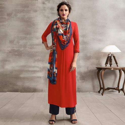 Marvellous Coral Red Colored Casual Rayon Palazzo Suit