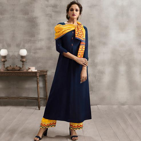 Flamboyant Navy Blue Colored Casual Rayon Palazzo Suit