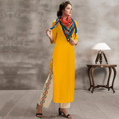 Sensational Yellow Colored Casual Rayon Palazzo Suit