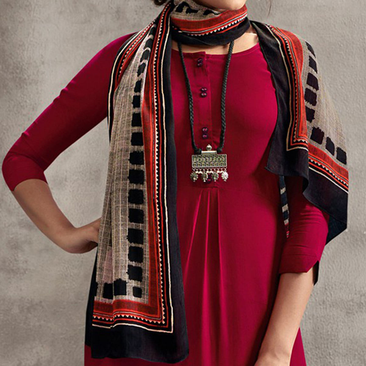 Stunning Maroon Colored Casual Rayon Palazzo Suit