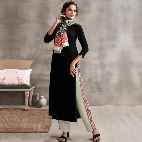 Flaunt Black Colored Casual Rayon Palazzo Suit
