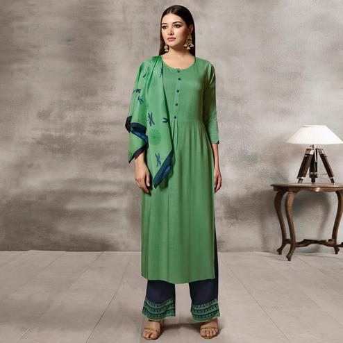 Surpassing Green Colored Casual Rayon Palazzo Suit