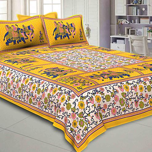 Classy Yellow-White Colored Elephant Printed Pure Cotton Double Bed Sheet With 2 Pillow Covers Set