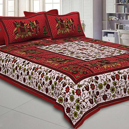 Hypnotic White-Maroon Barat Pattern Screen Printed Pure Cotton Double Bedsheet With Pillow Cover Set