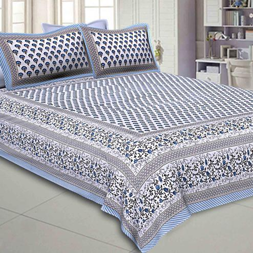 Demanding White-Blue Colored Floral Printed Pure Cotton Double Bedsheet With Pillow Cover Set