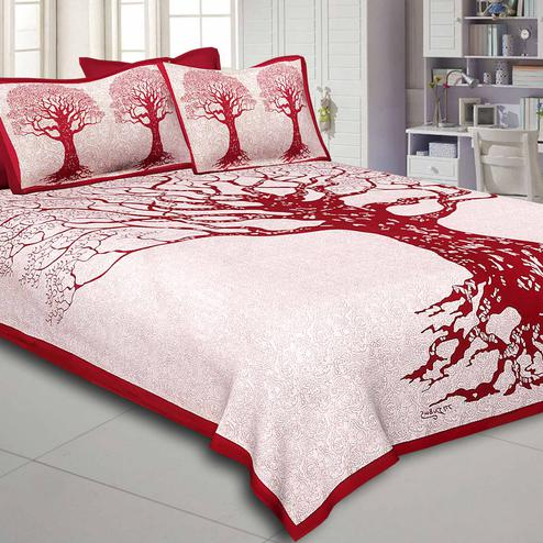 Unique Cream-Maroon Colored Printed Pure Cotton Double Bedsheet With Pillow Cover Set