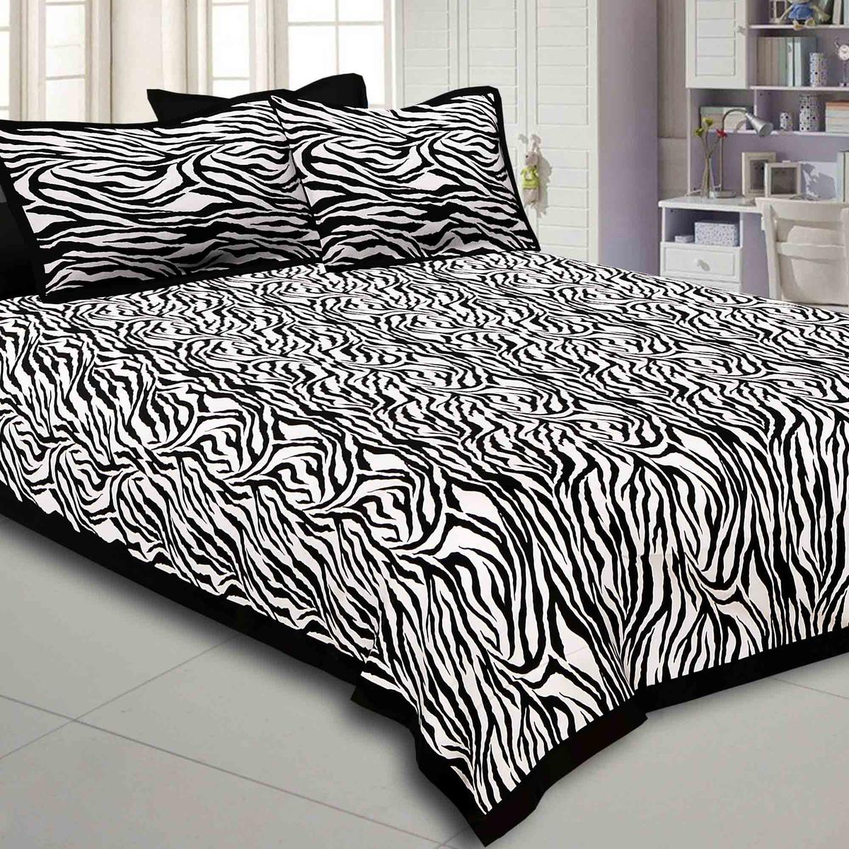Exceptional Black-White Colored Zebra Printed Pure Cotton Double Bedsheet With Pillow Cover Set