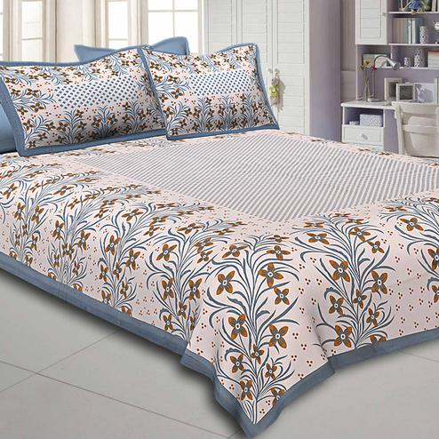 Energetic White-Grey Colored Floral Printed Pure Cotton Double Bedsheet With Pillow Cover Set