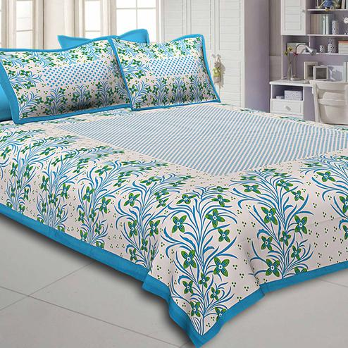 Opulent White-Firozi Blue Colored Floral Printed Pure Cotton Double Bedsheet With Pillow Cover Set