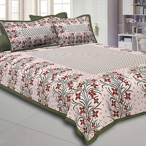 Jazzy White-Mehendi Green Colored Floral Printed Pure Cotton Double Bedsheet With Pillow Cover Set