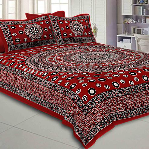 Radiant Maroon Colored Rangoli Printed Pure Cotton Double Bedsheet With Pillow Cover Set