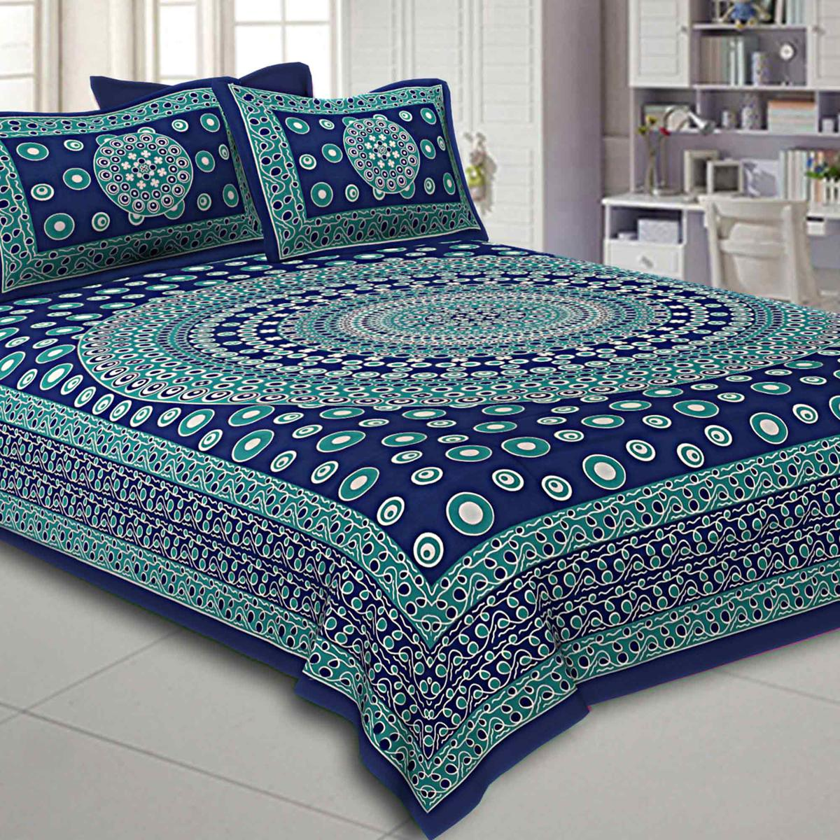 Elegant Blue Colored Rangoli Printed Pure Cotton Double Bedsheet With Pillow Cover Set