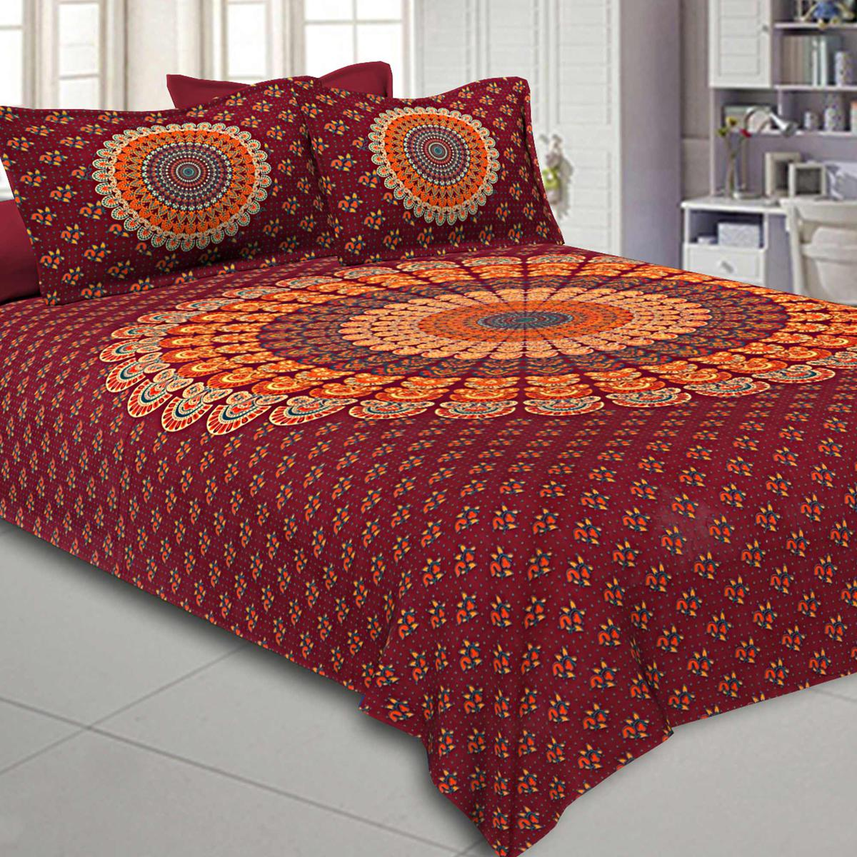 Sophisticated Maroon Colored Printed Pure Cotton Double Bedsheet With Pillow Cover Set