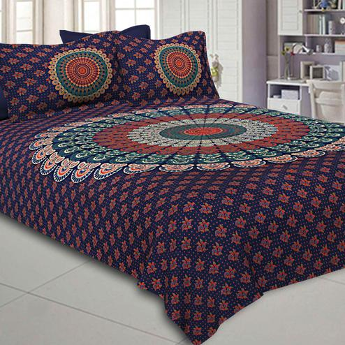 Exotic Navy Blue Colored Mandala Printed Pure Cotton Double Bedsheet With Pillow Cover Set