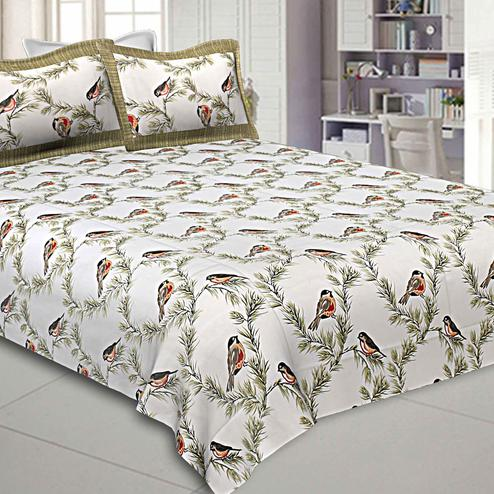Intricate White-Green Colored Bird Printed Pure Cotton Double Bedsheet With Pillow Cover Set