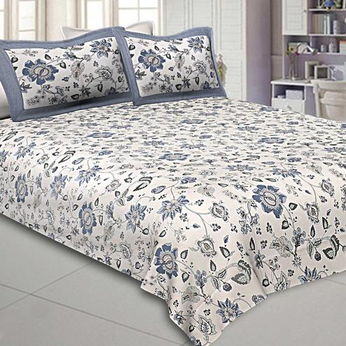 Beautiful White-Grey Colored Floral Printed Pure Cotton Double Bedsheet With Pillow Cover Set