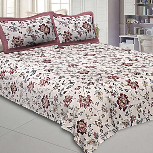 Graceful White-Brown Colored Floral Printed Pure Cotton Double Bedsheet With Pillow Cover Set