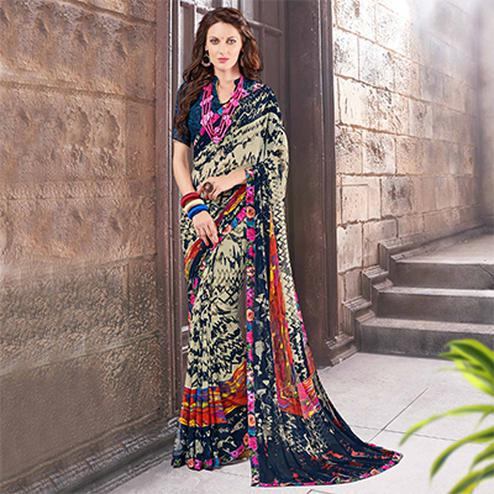 Multicolored Fancy Georgette Saree