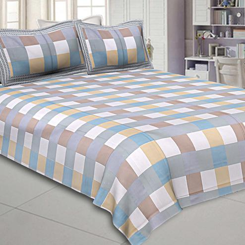 Charming Multi Colored Checks Printed Pure Cotton Double Bedsheet With Pillow Cover Set