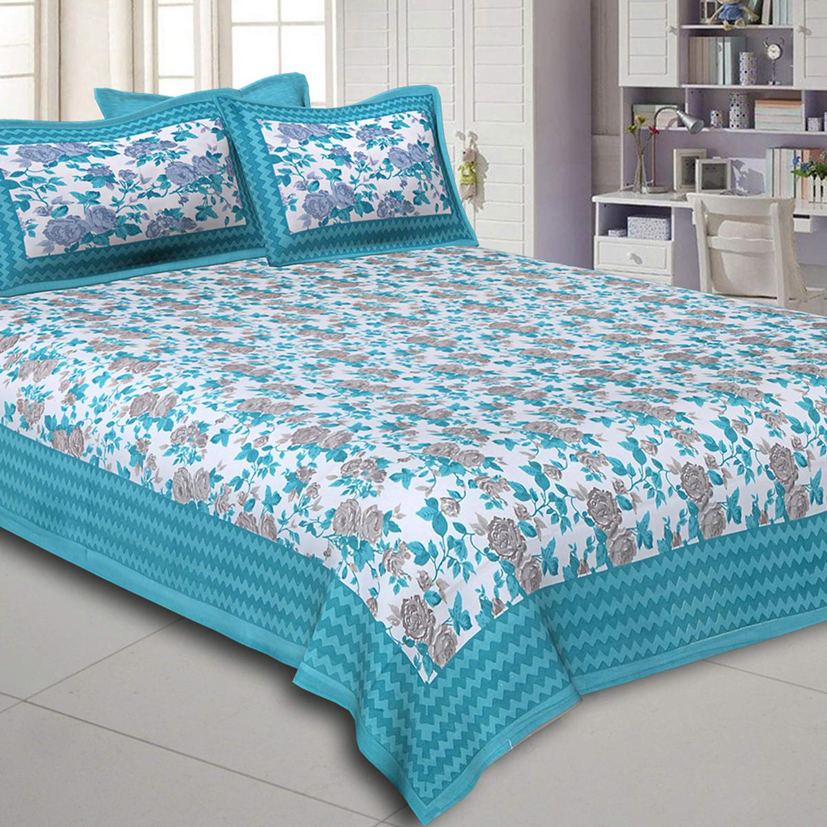 Jazzy Sky Blue Colored Floral Printed Pure Cotton Double Bedsheet With Pillow Cover Set