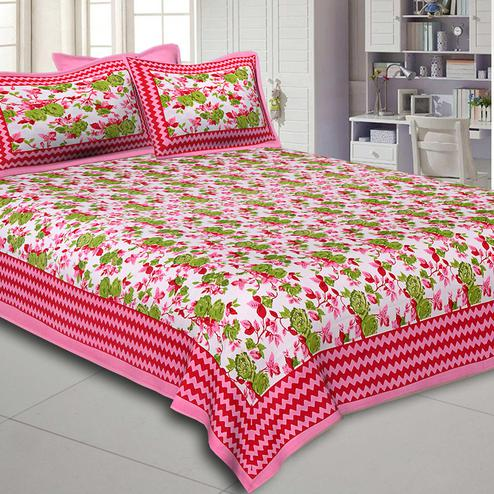 Delightful Pink Colored Floral Printed Pure Cotton Double Bedsheet With Pillow Cover Set