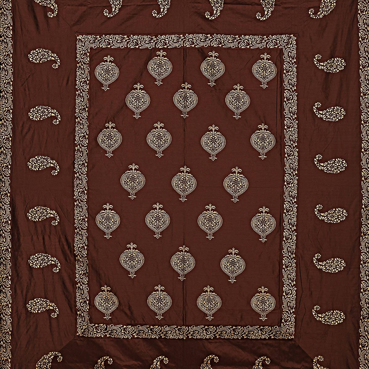Innovative Brown Colored Khadi Hand Block Printed Silk Double Bedsheet With Pillow Cover Set
