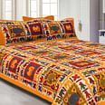 Yellow Border Colored Elephant Screen Printed Pure Cotton Double Bedsheet With Pillow Cover Set