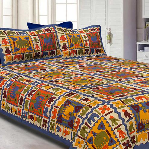 Blue Border Colored Elephant Screen Printed Pure Cotton Double Bedsheet With Pillow Cover Set