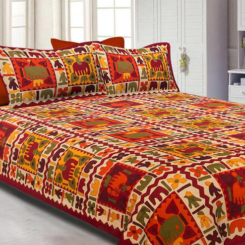 Blissful Maroon Colored Elephant Screen Printed Pure Cotton Double Bedsheet With Pillow Cover Set