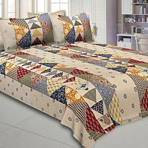 Imposing Beige Colored Patch Work Design Pure Cotton Double Bedsheet With Pillow Cover Set