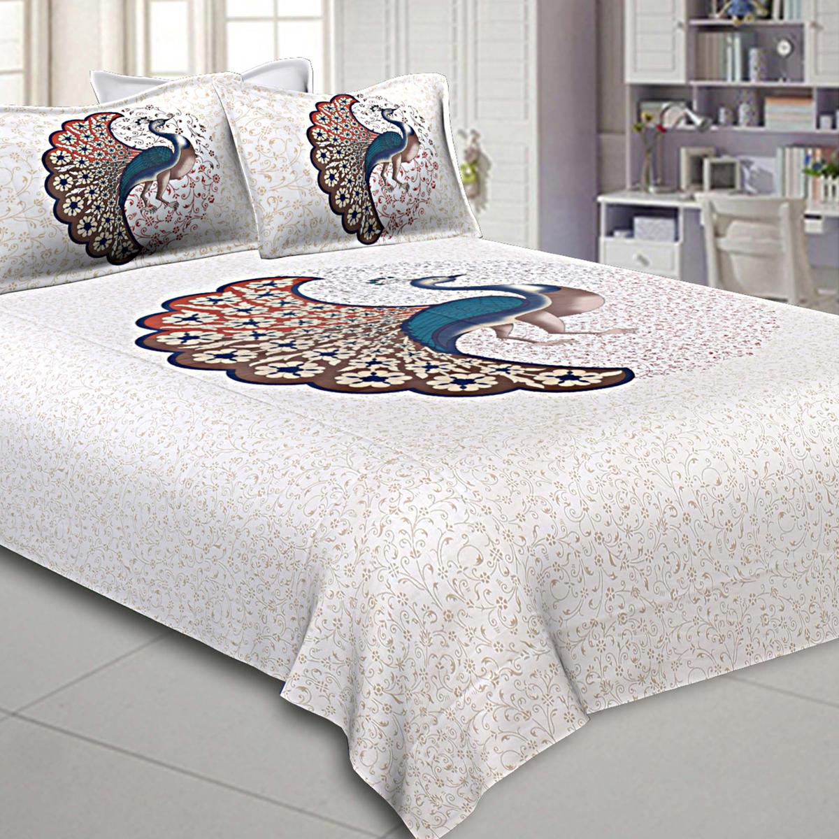 Lovely White Colored Dancing Peacock Printed Pure Cotton Double Bedsheet With Pillow Cover Set
