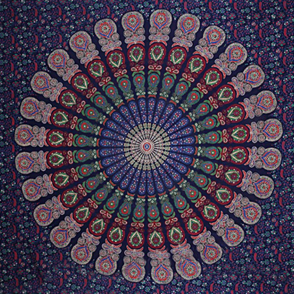 Impressive Blue Colored Mandala Printed Pure Cotton Double Bedsheet With Pillow Cover Set