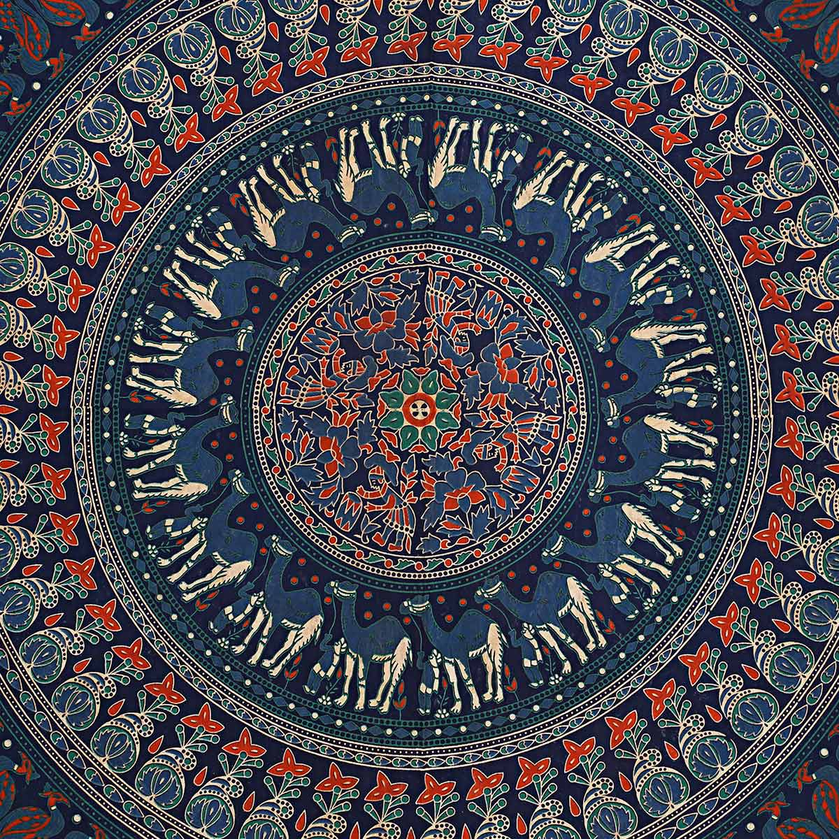 Mesmerising Navy Blue Colored Mandala Printed Pure Cotton Double Bedsheet With Pillow Cover Set
