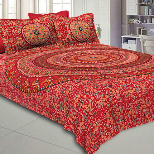 Pleasance Ruby Red Colored Mandala Printed Pure Cotton Double Bedsheet With Pillow Cover Set