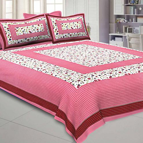 Breathtaking Pink Colored Printed Pure Cotton Double Bedsheet With Pillow Cover Set