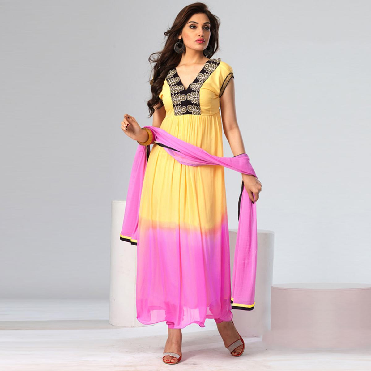 Light Yellow - Pink Georgette Suit