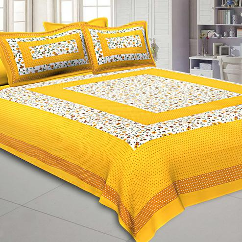 Ethnic Yellow Colored Printed Pure Cotton Double Bedsheet With Pillow Cover Set