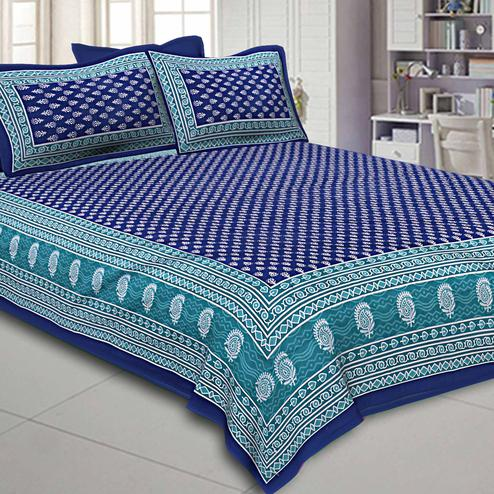 Ravishing Navy Blue Colored Floral Screen Printed Pure Cotton Double Bedsheet With Pillow Cover Set
