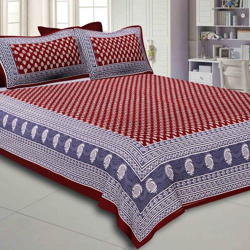 Staring Maroon Colored Floral Printed Pure Cotton Double Bedsheet With Pillow Cover Set