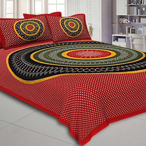 Dazzling Red Colored Bandhej Printed Pure Cotton Double Bedsheet With Pillow Cover Set
