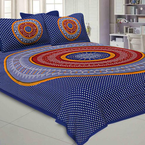 Surpassing Blue Colored Bandhej Printed Pure Cotton Double Bedsheet With Pillow Cover Set