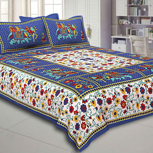 Adorning White-Blue Colored Elephant Printed Pure Cotton Double Bedsheet With Pillow Cover Set