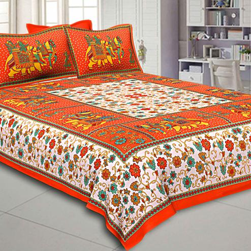 Appealing White-Orange Colored Elephant Printed Pure Cotton Double Bedsheet With Pillow Cover Set