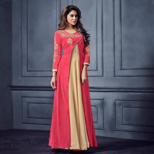 Captivating Pink-Beige Colored Partywear Embroidered Two Tone Silk Gown