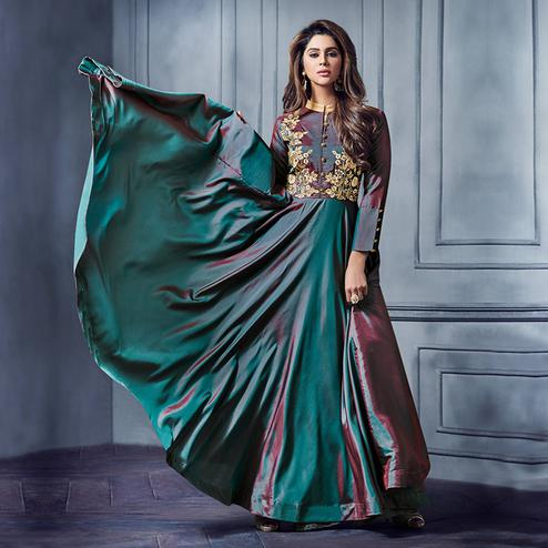 Innovative Teal Green Colored Partywear Embroidered Two Tone Silk Gown