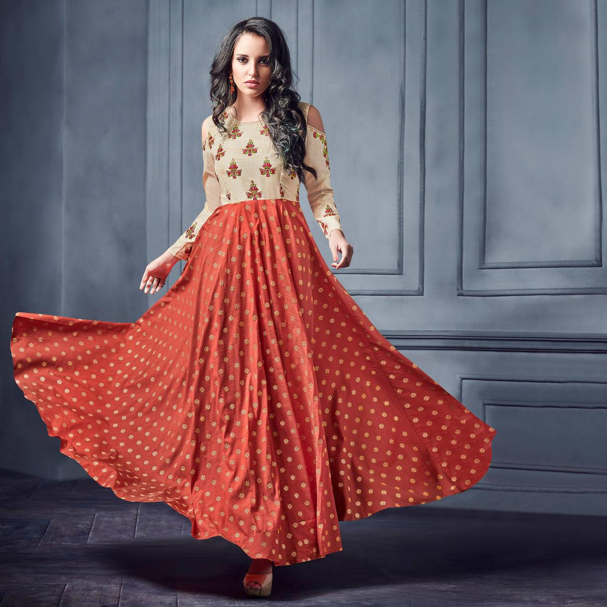 Eye-catching Coral Red Colored Partywear Embroidered Two Tone Silk Gown