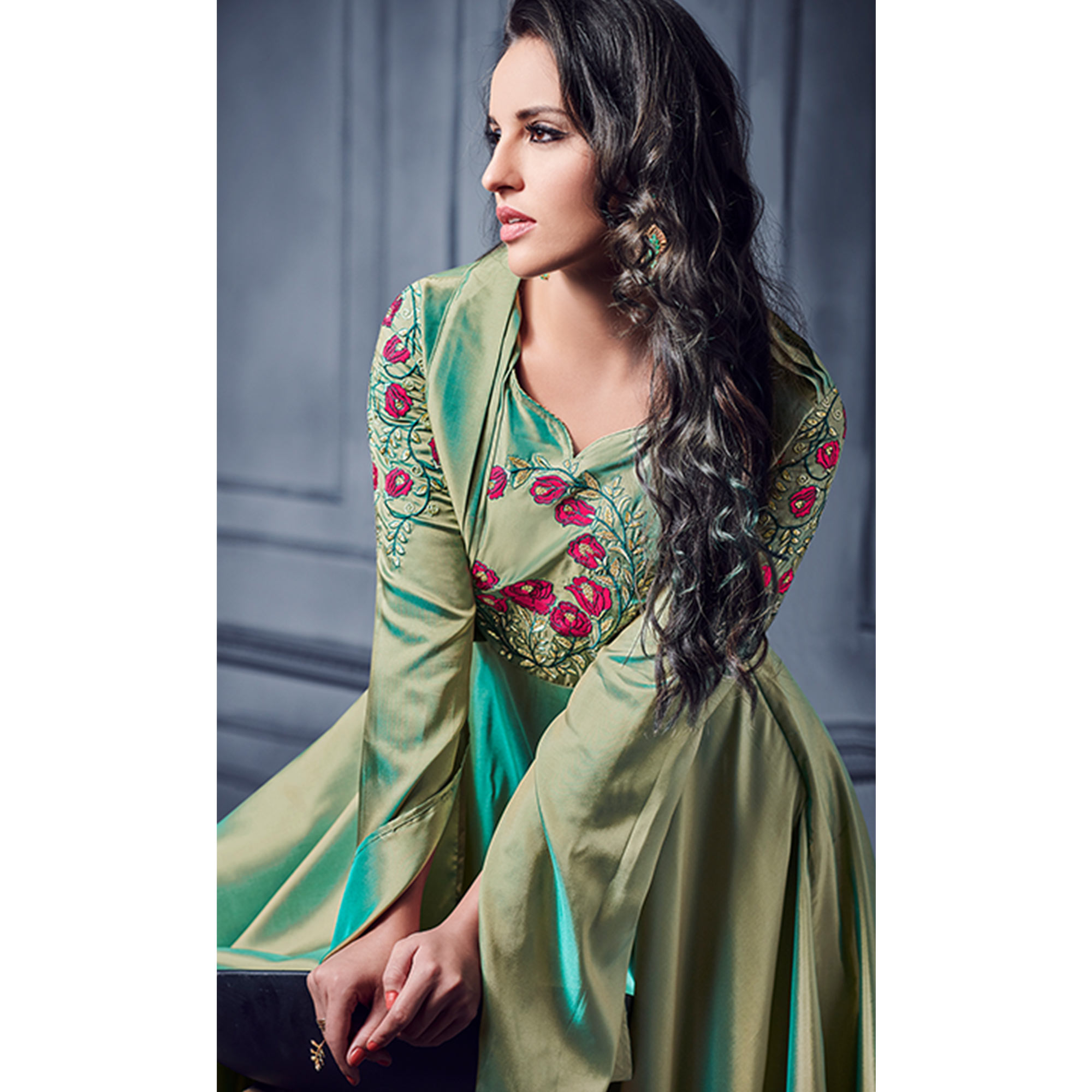 Exceptional Green Colored Partywear Embroidered Two Tone Silk Gown